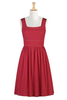 this is a great dress - you can add sleeves, but not sure what I'd like, or if the color would work. At eShakti: Red retro frock