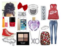 """""""Second Day Of School"""" by noel-alwaysrox ❤ liked on Polyvore featuring Maybelline, Butter London, Converse, Disney, Revlon, Palm Beach Jewelry, Vera Wang, Reeds Jewelers, Urban Decay and Gucci"""