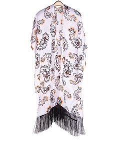 Look at this #zulilyfind! White Paisley Fringe Kimono by SUE & KRIS #zulilyfinds