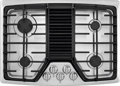 Frigidaire Gas Sealed Burner Style Cooktop with 4 Burners, in Stainless Steel: Frigidaire Built In Downdraft Cooktop With PowerPlus Boil, Continuous Grates, Downdraft System, And Low Simmer Burner: Stainless Steel