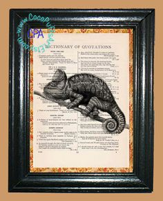 Illustration of a Gecko Lizard - - Vintage Dictionary Book Page Art-Upcycled Page Art,Wall Art,Collage Art, Garden Lizard by CocoPuffsArt on Etsy