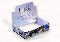 Wristband Charity Tray – WH Skinner  Simple transit box style charity tray for the transportation and display of charity wristbands | This style of charity box is for use with separate money collection tin | Pop-up header and box sides have plenty of space for your important branding and graphics | Bespoke printed charity boxes are not just for the big national and international charities, our digital printer makes shorter runs cost effective too