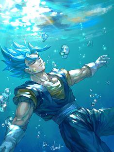 Dragon Ball Super Z - SSJ Vegito Blue Swimming Hoodie - Vegetto Super Saiyan blue - Pullover Hoodie Dragon Ball Gt, Dragon Ball Z Shirt, Dragon Ball Image, Fanart, Photo Dragon, Dragonball Super, Gogeta And Vegito, Manga Dragon, Noragami