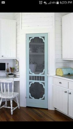 Use a screen door for a pantry door. Love this.