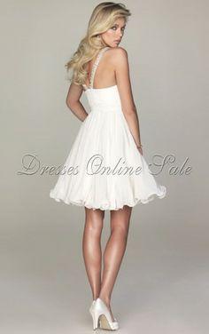White A-line Knee-length Spaghetti Straps Dress Shop Online - 4p179 - sku107120511a47