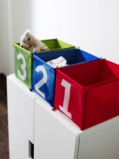 The KUSINER boxes come in red, blue and green. Perfect for tidying away things and when not in use they can be folded up! The definition of tidy and space saving.