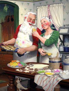 Santa, his wife and puppy - Télapó, felesége és kiskutyája Christmas Labels, Retro Christmas, Vintage Holiday, Christmas Printables, Christmas Art, Christmas Clipart, Vintage Santas, Share Pictures, Santa Pictures