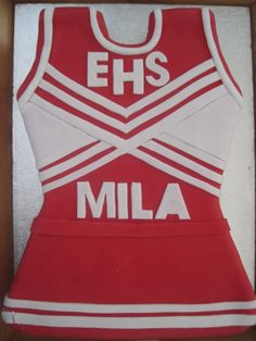 High School Musical Cheerleader Cake #HSM #EHS #cheerleader #highschoolmusical #dress #red #white