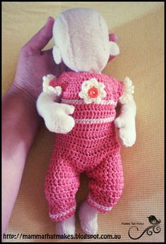 Ravelry: Brianna Romper pattern by Myshelle Cole~FREE~ American Girl Crochet, Crochet Girls, Crochet For Kids, Free Crochet, Baby Doll Clothes, Crochet Doll Clothes, Doll Clothes Patterns, Baby Dolls, Sewing Clothes