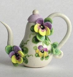 Miniature Pansy Teapot OOAK by C. Rohal by ArtisticSpirit on Etsy