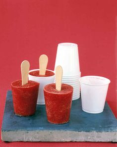 Strawberry Pops   Everyone will love munching on these all-natural fruit pops when the weather turns steamy.   MAKES 8