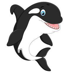 Cute killer whale cartoon vector