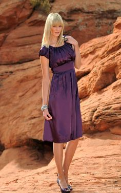 Pleated satin bubble sleeve dress - all overpleating in bodice, pleated skirt and the empire-waist defines this dress