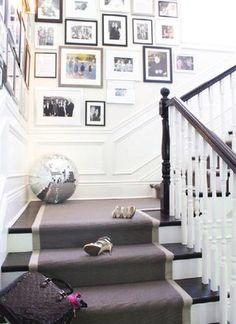 Gallery wall, gray runner