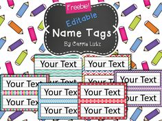 Free EDITABLE!! Chevron, Dots or Rainbow....Simple Name Tags Type in student's names. :) 6 styles to choose from. Just print and write/ or type. If a child ruins one during the year, just print another one. No need to go back to the store!