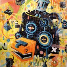 """Niark1 is a wellknown Paris based artist. At the beginning of his career he was mainly famous for his vector/graphic work, but lately he focused on paintings, bringing all his imagery and style in the """"real world"""", with a grunge supertextured twist. Niark1 è un artista molto conosciuto di Parigi. All'inizio della sua carriera è diventato famoso per i suoi lavori vettoriali di grafica ed illustrazione, successivamente si è concentrato molto sulla pittura, importando il suo stile ed il suo..."""