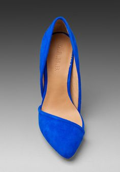 LAMB Meridith Suede Heel in Electric Blue They're blue rather than black, and there are some other obvious differences, but the basic shape of L.A.M.B's 'Meredith' instantly reminded me of my beloved Zara asymmetric pumps, a.k.a. The Ones That Got Away: