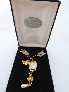 Kirks Folly Gold Tone Necklace Pendant Watch six Charms including Angel Cherub #KirksFolly