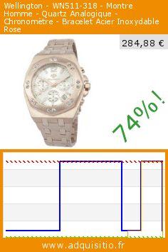 Wellington - WN511-318 - Montre Homme - Quartz Analogique - Chronomètre - Bracelet Acier Inoxydable Rose (Montre). Réduction de 74%! Prix actuel 284,88 €, l'ancien prix était de 1.090,00 €. http://www.adquisitio.fr/wellington/wn511-318-montre-homme