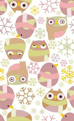 Winter' by Elena Catalan of El Jardín de Kipuruki Owl Wallpaper, New Year Wallpaper, Cartoon Wallpaper, Pattern Wallpaper, Iphone Wallpaper, Wallpaper Ideas, Papier Paint, Paper Scrapbook, Motifs Aztèques