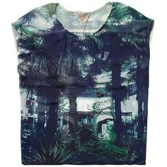 Scotch & Soda Sheer Summer Top With Palm Tree Print ($92) ❤ liked on Polyvore