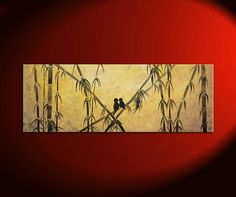 Love Birds and Bamboo Painting Yellow and Burnt Orange Original Art Ships Fast 36x12