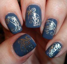 Sparkly Nails - Arabian Swirl Water Decals #nails #nailart #navy #polish - bellashoot.com