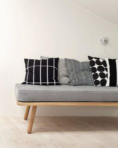 """Tiiliskivi, Pirput Parput, Varvunraita, Kivet and Juhlaraita // // Want to join? Living Furniture, Cool Furniture, Furniture Design, Marimekko, Black And White Interior, Nordic Interior, Banquette, Scandinavian Interior, Home Decor Items"