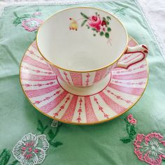 Crown Staffordshire Pink Demitasse Tea Cup and Saucer Vintage by PucaByElphiena on Etsy