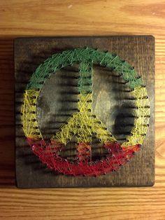 . Stringart, Art N Craft, Diy Art, Boho Hippie, Cute Crafts, Diy Crafts, Peace Signs, Hippy Room, Nail String Art