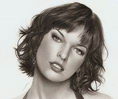 Milla Jovovich - 50 Excellent Examples of Portrait Drawing  <3 <3