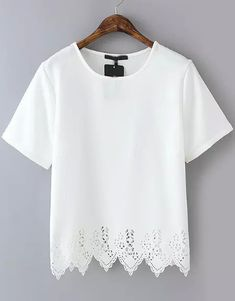 White Short Sleeve Lace Hem Chiffon T-Shirt Price: $12.50 Color: White Size: Small