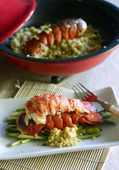 Lobster Tails with Curried Pearled Cous Cous and GIVEAWAY via Megan at Wanna Be A Country Cleaver
