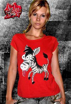 Crazy Handpainted Zebra Red Tshirt