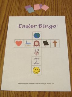 Easter bingo The leader instructs each player to begin by putting a marker on Jesus in the center square, since Jesus is the most important person in the Easter story. Sunday School Projects, Sunday School Activities, Church Activities, Sunday School Lessons, Easter Activities, Church Games, Easter Games, Bible Activities, Easter Bingo