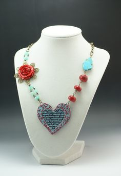 """""""Lost Cause"""" Ceramic and Mixed Media Necklace by Madeline Henry"""