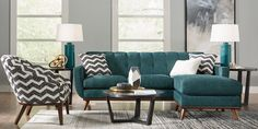 Great deals on Sectional Sofas. Find affordable Sectional Sofas to complement the furniture in your home. Living Room Turquoise, Teal Living Rooms, Living Room Color Schemes, Home And Living, Living Room Decor, Turquoise Sofa, Teal Couch, Living Room Sectional, Sectional Sofas