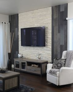Sections and details living room tv, deco salon, tv wall design. Tv Wall Design, Design Case, Living Room Tv, Home And Living, Stone Wall Living Room, Tv Wall Ideas Living Room, Best Interior Design, Interior Design Inspiration, Design Ideas