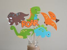 Dinosaur Birthday Party, Dinosaur Centerpiece, Dinosaur Party Decorations