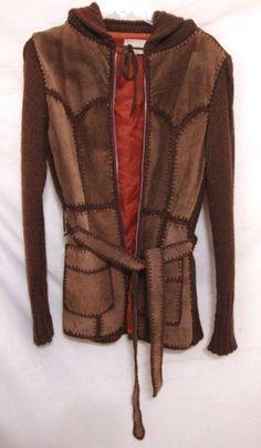 Vintage Patchwork Crochet Leather Jacket Sweater Coat Suede Belt Women Medium