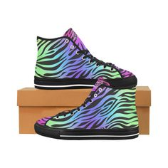 Celtic Tiger Rainbow Women's High Tops Mesh Fabric, Daily Wear, Celtic, High Tops, High Top Sneakers, Lace Up, Rainbow, Pairs, Canvas