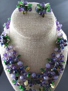 Vintage West Germany Purple Triple Strand Beaded Necklace and Earring Set BEST!
