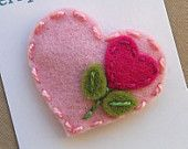 Items similar to Valentine's Day  Sweet Heart   Baby Pink  Wool Felt Baby Snap Hair Clip on Etsy