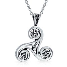 Celtic Trinity Knot Triskele spiral Pendant 925 Sterling Silver ($14) ❤ liked on Polyvore featuring men's fashion, men's jewelry, men's necklaces, theme jewelry, mens celtic knot necklace, mens chain pendants, mens sterling silver pendant, mens sterling silver chains and mens sterling silver chain necklace