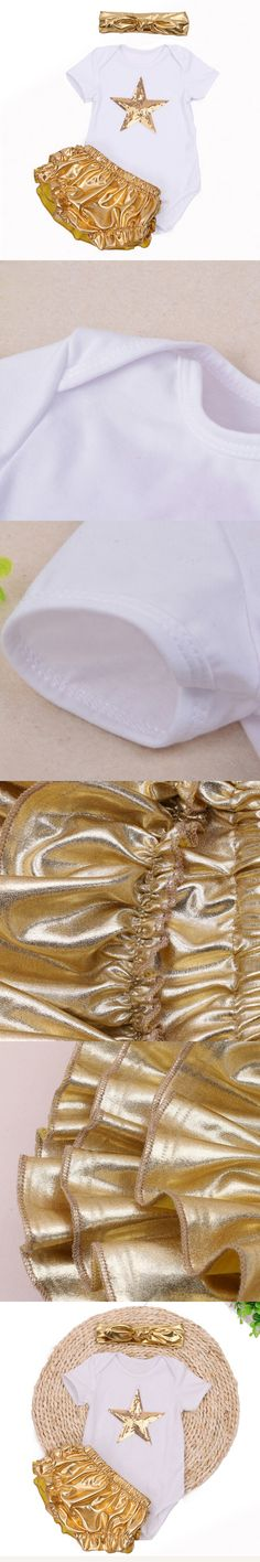 Summer Fashion Infant Baby Clothing Sets Short Sleeve Sequin Star Top+Gold Ruffles Bloomers Headband Newborn Baby Girl Clothes