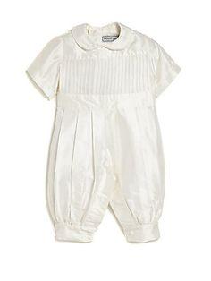 Isabel Garreton Baby's Tucker Pleated Christening Coverall - White