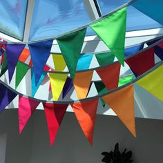 Rainbow Bunting - part of a 60 metre custom order Rainbow Bunting, Rainbow Flag, Curtain Rails, Fabric Bunting, Color Change, Colours, Quilts, Handmade, Etsy