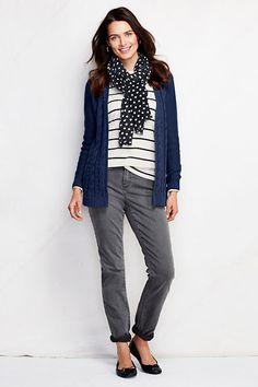 Drifter Drape Cardigan Sweater | Jeans | Ballet Flats | Striped Tee | Polka Dot Scarf | Lands' End