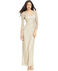 JS Collections Three-Quarter-Sleeve Sequin Gown - Dresses - Women - Macy's