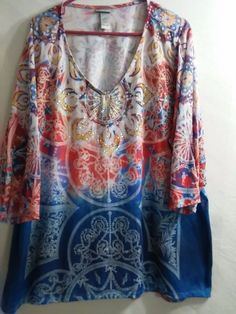 Catherines Top ~ Blouse Women's Plus Size 4X  30/32W With Bling 3/4 Sleeve Soft! #Catherines #TunicTee #CareerCasual